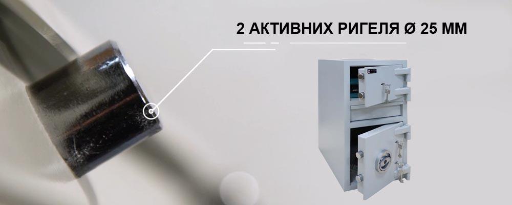 Система запирания двери в HD.65.K.K  состоит из трех ключевых сейфовых замков STUV (Германия), сертификат класса VDS 1 и активных ригелей диаметром 25 мм, по 2 на каждую дверь